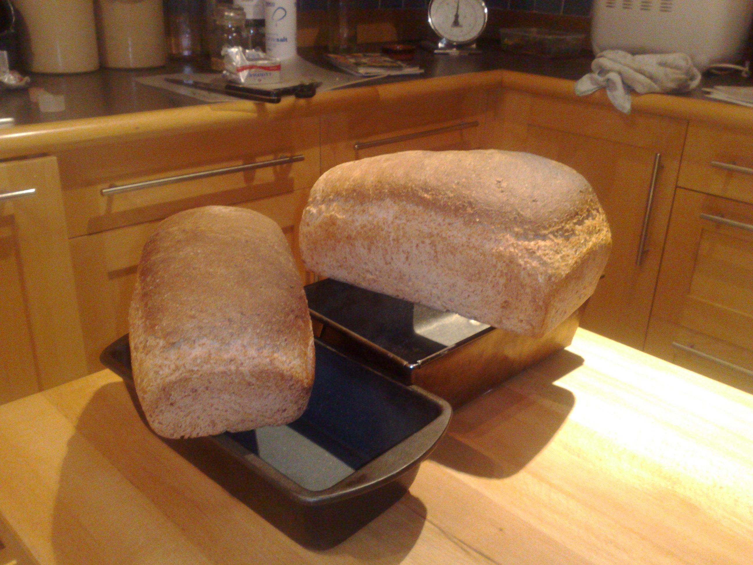 Bread safely out of the oven, and out of the tin.