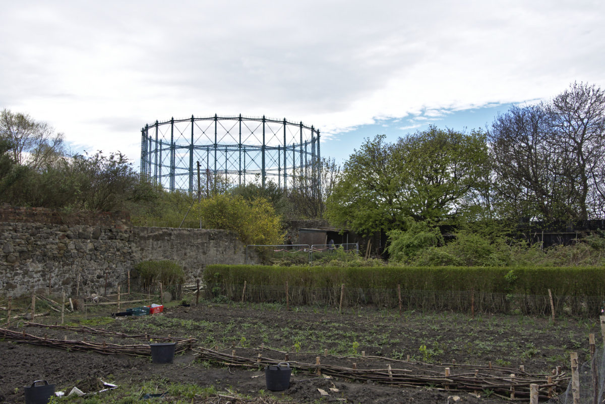 A view across the Granton Castle walled garden towards Granton gasholder: picture 'Industrial Garden' by Magnus Hagdorn CC By-SA 2.0