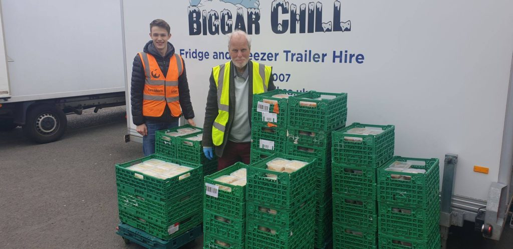 Biggar Chill trailer freezer with stacks of food ready to be stored