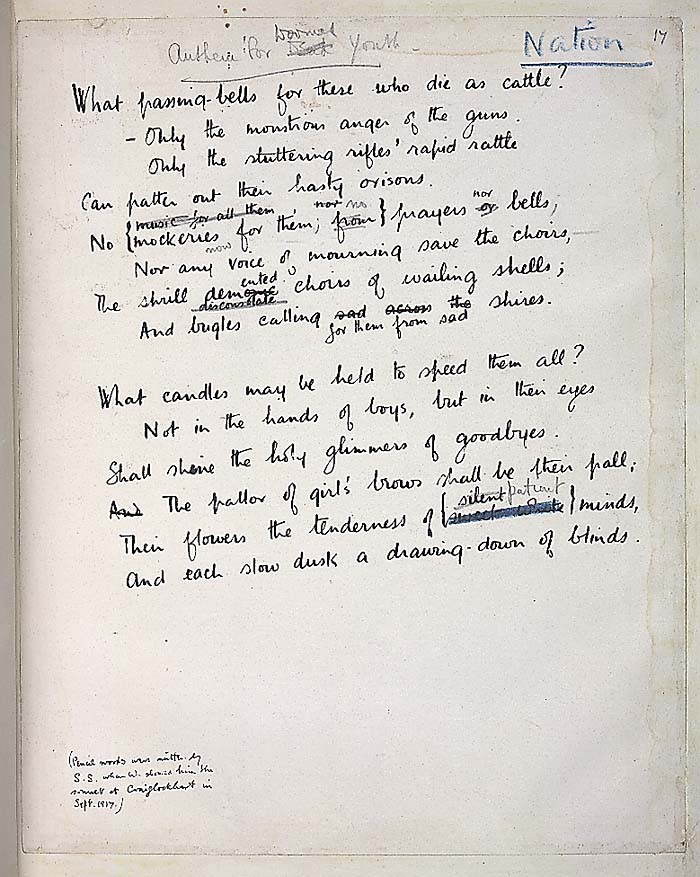 Handwritten copy of Anthem for Doomed Youth by Wilfred Owen with notes by Siegfried Sassoon