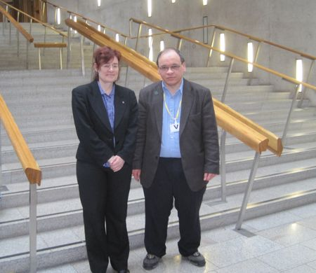 David and Sarah by the stairs in the Scottish Parliament