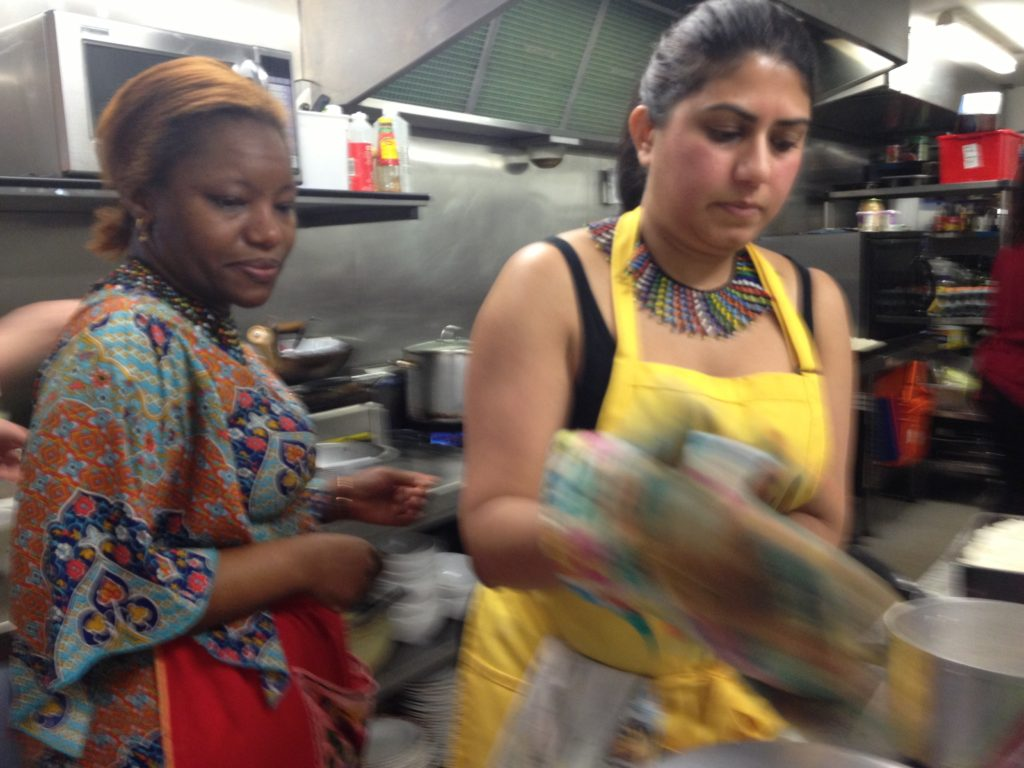 Alice and Meena, World Kitchen in Leith, cooking up a storm