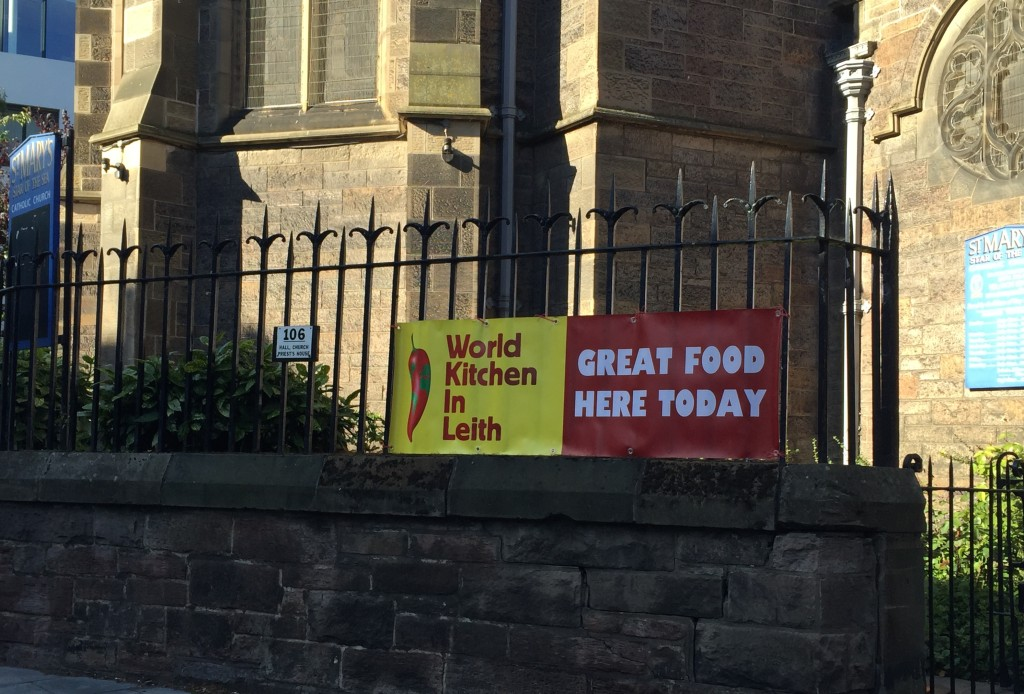 World Kitchen in Leith banner outside St Mary's Church Hall