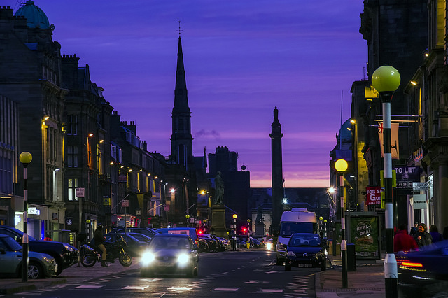 View of George Street under dark blue sky at dusk
