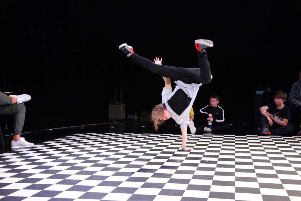 High kicks from young break dancer at The State Leith: picture credit The State