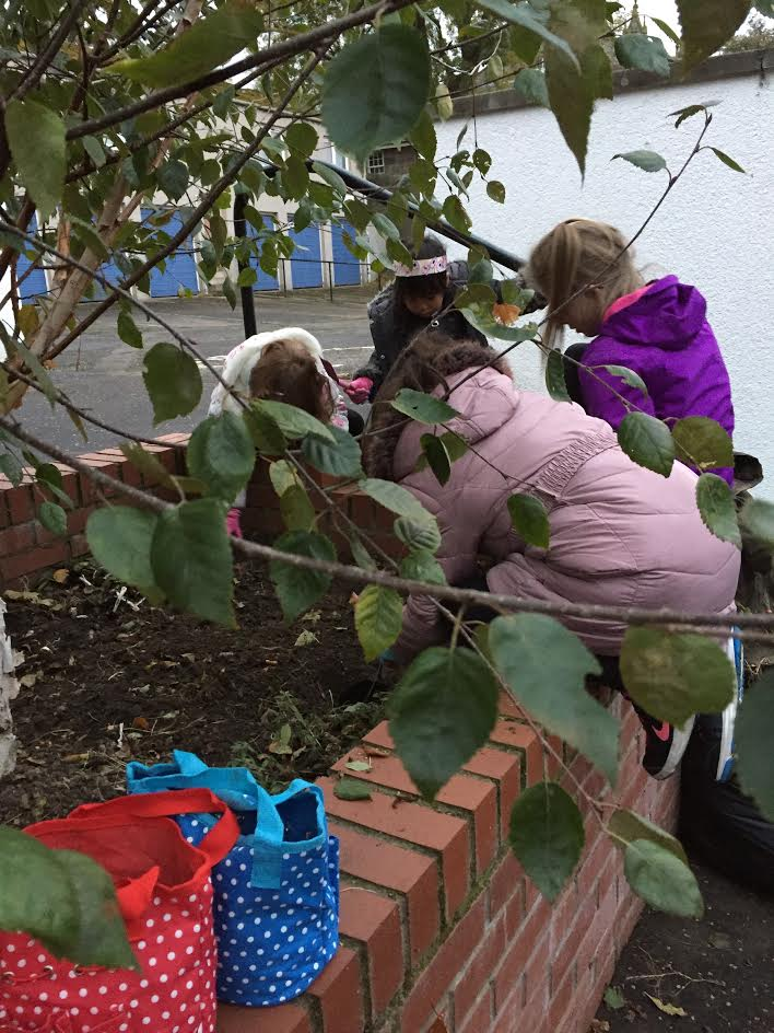 Playtime planting at Newhaven primary school