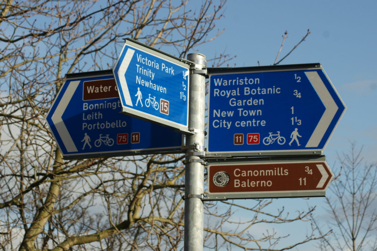 Signposts of the Water of Leith walkway